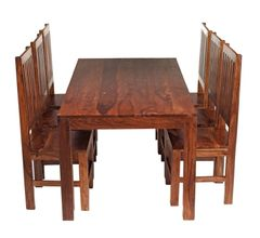 CUBE 6 Ft Dining Set With 6 Wooden Chairs