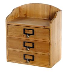 Rustic Wood Storage 3 Drawers Organizer 25 x 15 x 29 cm