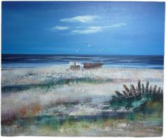 By The Sea 3 - 50cm x 60cm Real Art Painting, Oil on Canvas