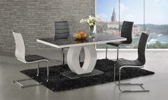 Halo Black Glass White High Gloss Dining Table With 4 or 6 Encore Chairs
