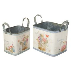 Set of 2 Box Planters with Handles