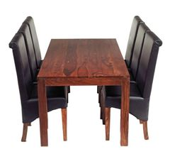 CUBE 6 Ft Dining Set With 6 Leather Chairs