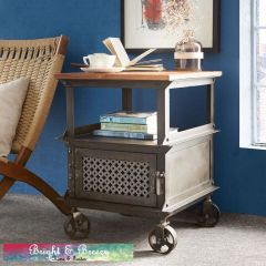 EVOKE Iron / Wooden Jali Side Table