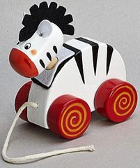 Children's Wooden Pull Along Zebra Toy