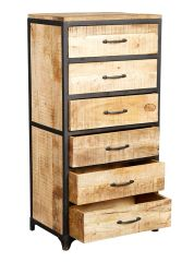 Indian Hub COSMO Industrial Style Tall Chest with 6 Drawers