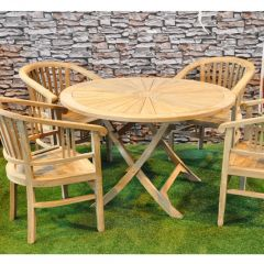Round Teak Sunrise Table Complete with 4 Chairs