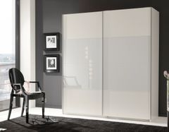 MAPLE Large Sliding Wardrobe White and White Glass