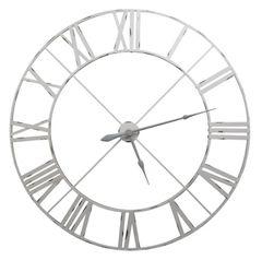 Vintage Metal Wall Clock Off White 110cm