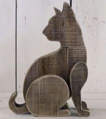 Driftwood Shaped Cat 34cm