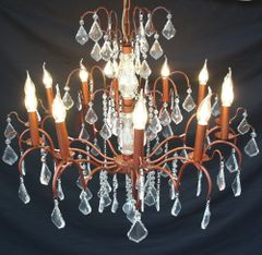 Antique Bronze 12 Branch French Chandelier