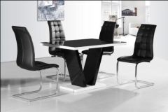 Zara Black Table Top with 4 Enzo Chairs Black