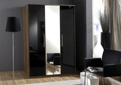 MULBERRY Black Gloss and Walnut 3 Door Wardrobe