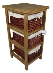 Layburn Wooden Wicker Basket Drawers Storage Cabinet