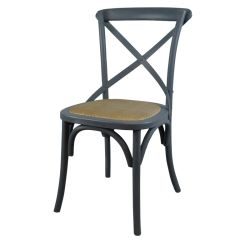 Grey Painted Wooden Cross Back Rustic Dining Chair