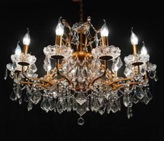 Gold 12 Branch Shallow Cut Glass Chandelier
