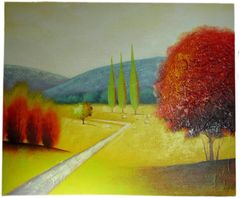 Trees Abstract 2 - 50cm x 60cm Real Art Painting, Oil on Canvas
