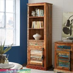 COASTAL Reclaimed Wooden Bookcase 1 Door 1 Drawer