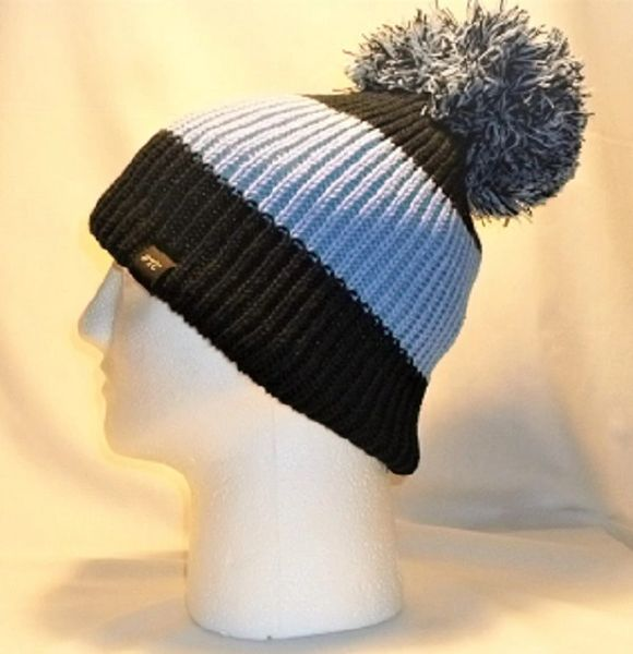 Black And Blue Allover - Black With A Skye Blue Centre Stripe Bobble ... 34e84d5a03f6