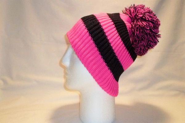 Biker Girl - Fleece Lined Pink And Black Bobble Hat Beanie Pom  33c99f19459