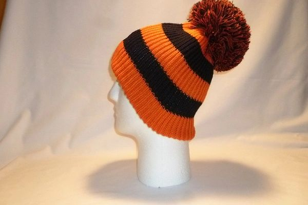 Earn Your Stripes Fleece Lined Orange And Black Bobble Hat Beanie ... 53ed72d18549