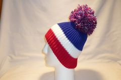 6ff5abc5ff7 The Blue Ranger - Blue Half With A Red And White Stripe Bobble Hat