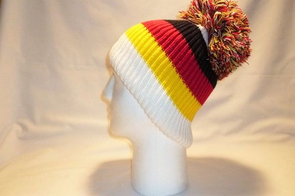 be311037b95 The Flagging German White Black Red And Yellow Bobble Hat Beanie ...