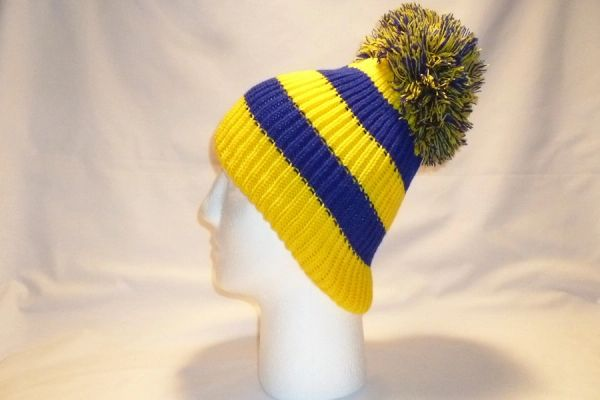 49c816f450c On Me Swede - Yellow And Blue Fleece Lined Bobble Hat Beanie Pom ...