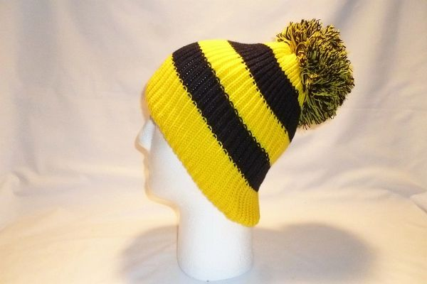 3e542c91e13 The Beehive - Yellow And Black Fleece Lined Bobble Hat Beanie Pom ...