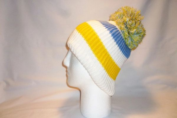 bb39f0c96c1 Sky s The Limit - White Yellow and Skye Blue Fleece Bobble Hat