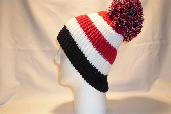 The Busby Babe - Red White And Black Bobble Hat