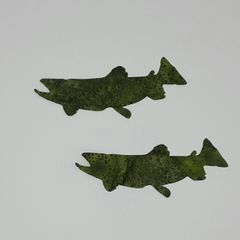 Trout, Pre-fused and laser cut applique embellishment, set of two