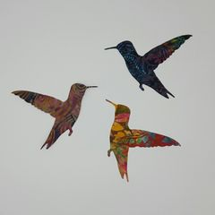 Bright Batik Hummingbirds, Set of Three, Laser Cut and Pre-Fused