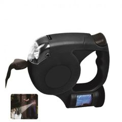 Retractable Pet Leash with Waste Bag Dispenser and LED Light
