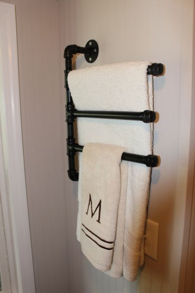 Black Iron Pipe Swivel Towel Rack (3 Tier) | Mini Mansions Tiny Home ...