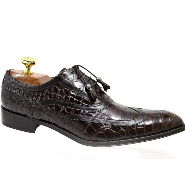 a47e37466e8 Calzoleria Toscana 7153 Brown Baby Alligator Wingtip Lace-Up