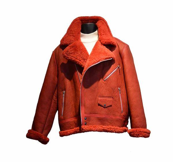 08bdbbfff Jakewood Custom Red Shearling Biker Cut Jacket