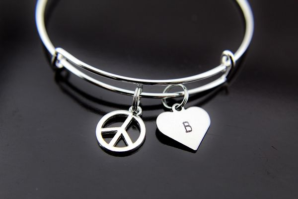 Silver Peace Bangle, Peace Sign Charm Bracelet, Expandable Bracelet