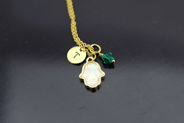 Palm Hand Necklace, Personalized Opal Hamsa Hand Charm Necklaces
