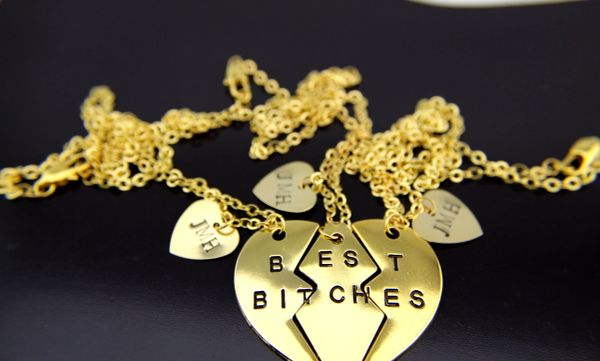 Gold Best Friend Heart Charm Necklace set of 3