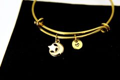 Gold Crescent Moon Star Charm and Initial Charm Bracelet, B107
