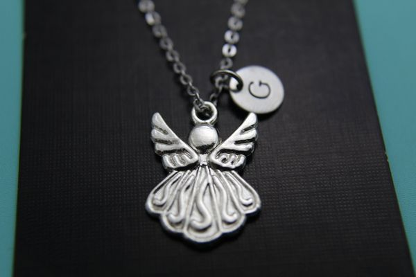 Silver Guardian Angel Charm Necklace