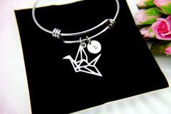 Origami Crane Charm Bracelet, Paper Crane Charm Bangle, Crane Charm, B098