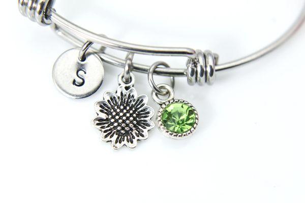 Silver Sunflower Charm Bracelet, Personalized Initial Bracelet