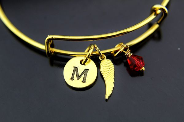 Gold Angel Wing Charm Bracelet
