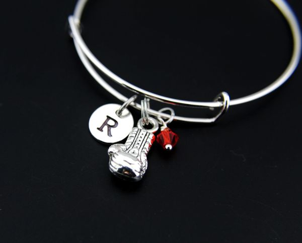 Boxing Bangle, Silver Boxing Glove Bracelet, Expandable Bangle