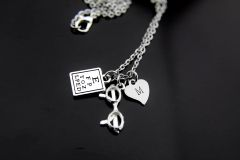 Optometrist Necklace Snellen Chart Charm Personalized Optometry Gift