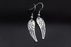 Angel Wing Earrings, Silver Angel Wing Charm Dangle Earrings