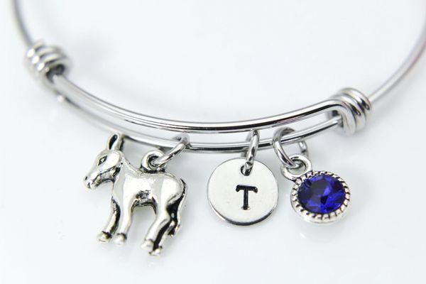 Silver Donkey Charm Bracelet, Personalized Bracelet