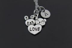 Silver Rabbit and Panda Love Charm Necklace