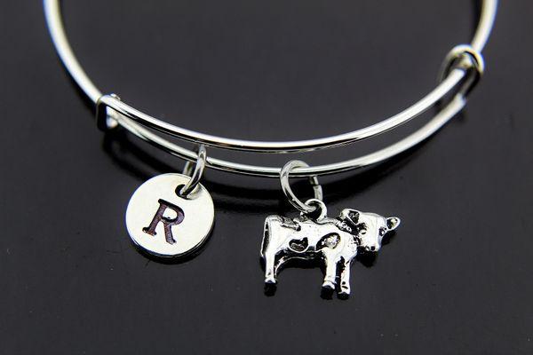 Silver Cow Charm Bracelet